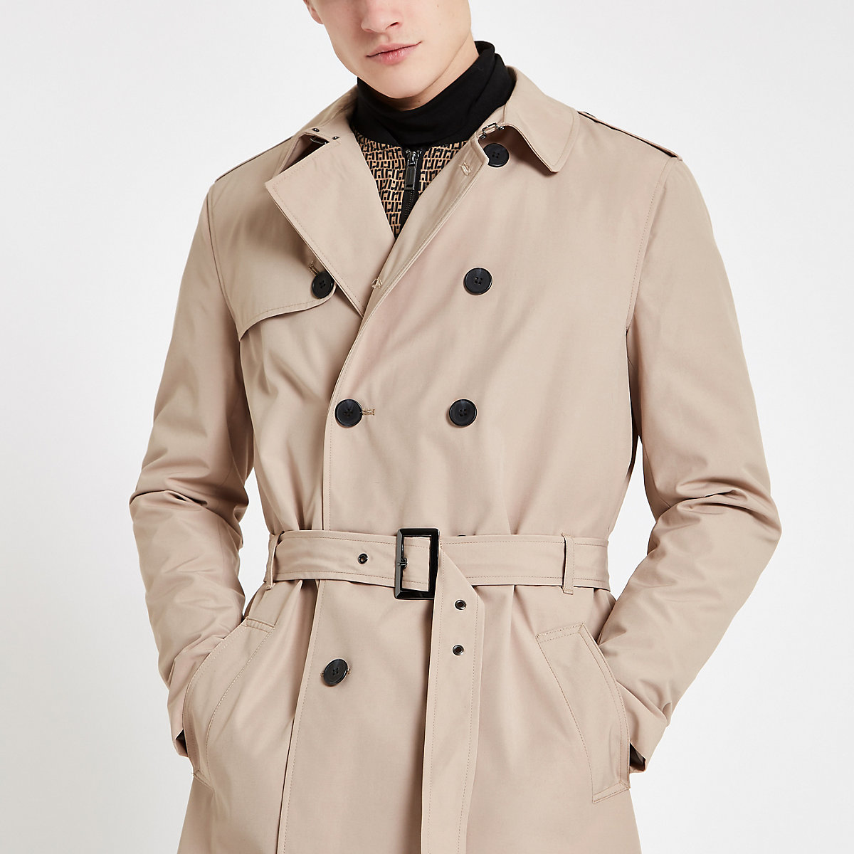 Stone double breasted smart belted mac