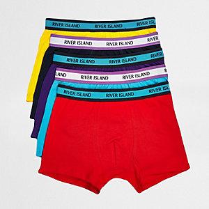 Lot de5 boxers longs rayés rouges