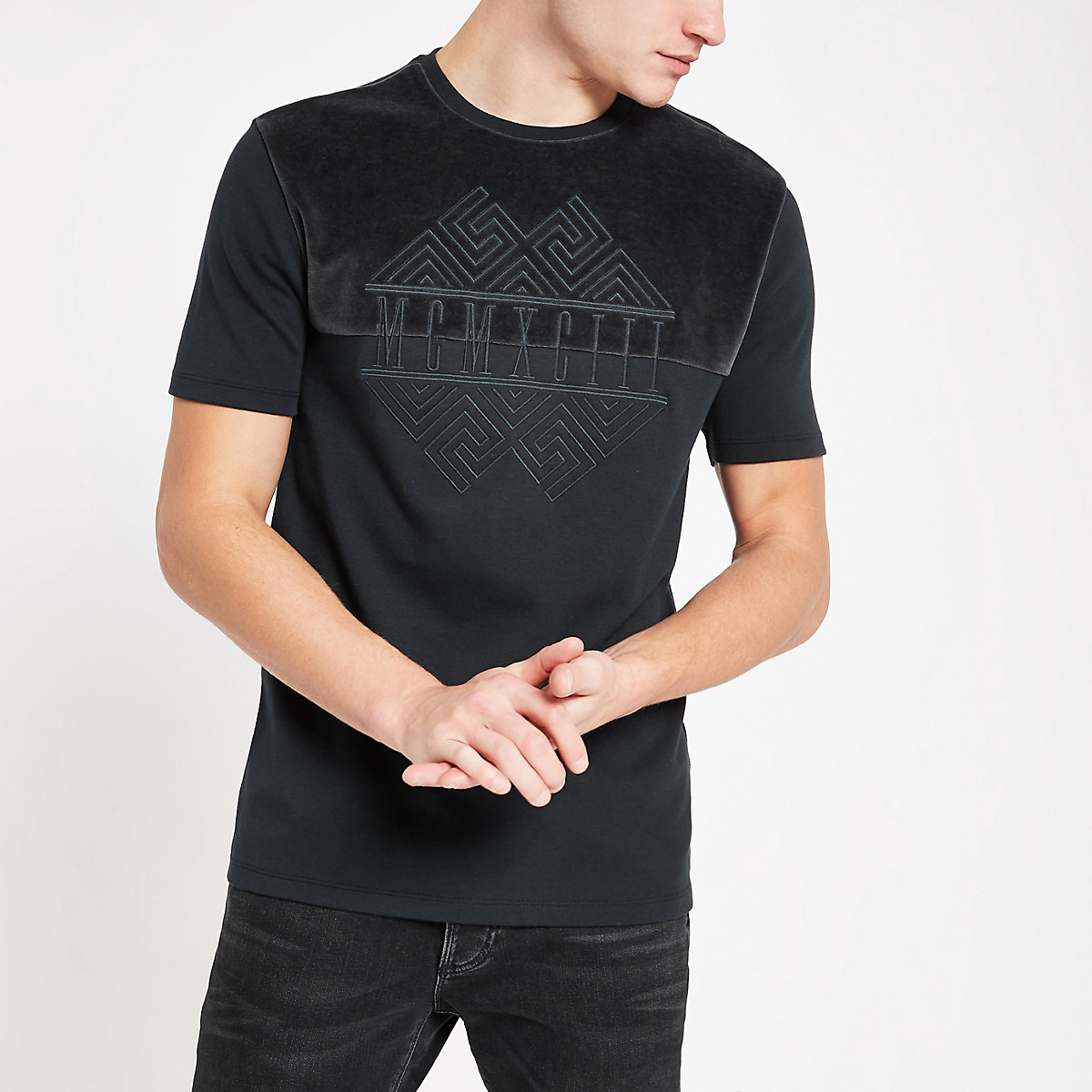 Charcoal embroidered slim fit T-shirt