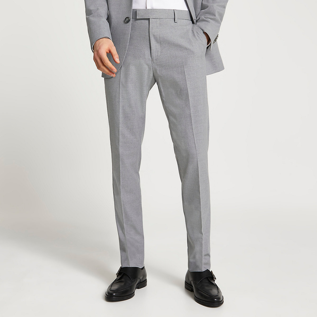 Grey textured slim fit suit pants
