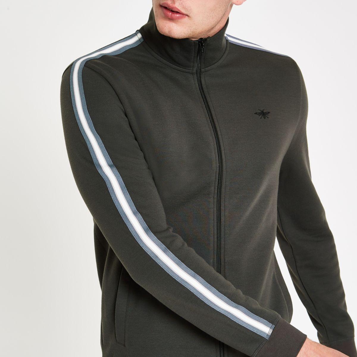 Dark grey slim fit tape side track jacket