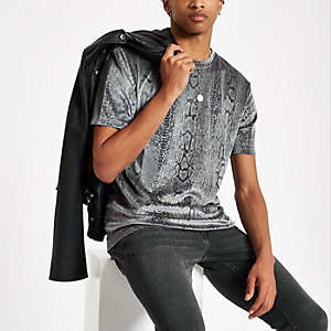 Grey velour slim fit snake print T-shirt