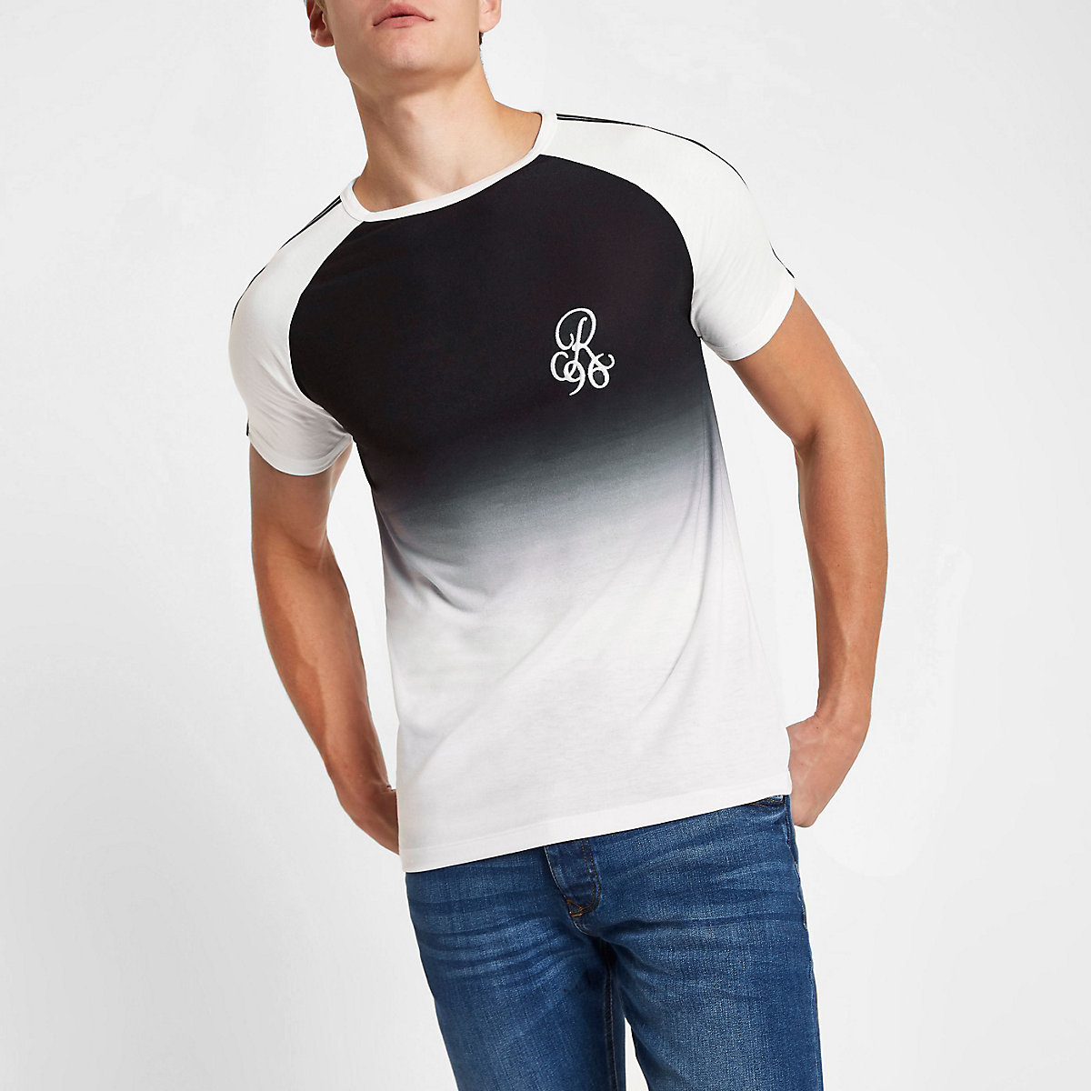 Black R96 muscle fit faded raglan T-shirt