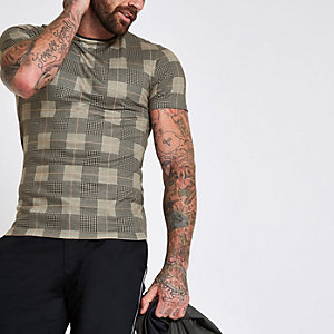 Brown check print muscle fit T-shirt