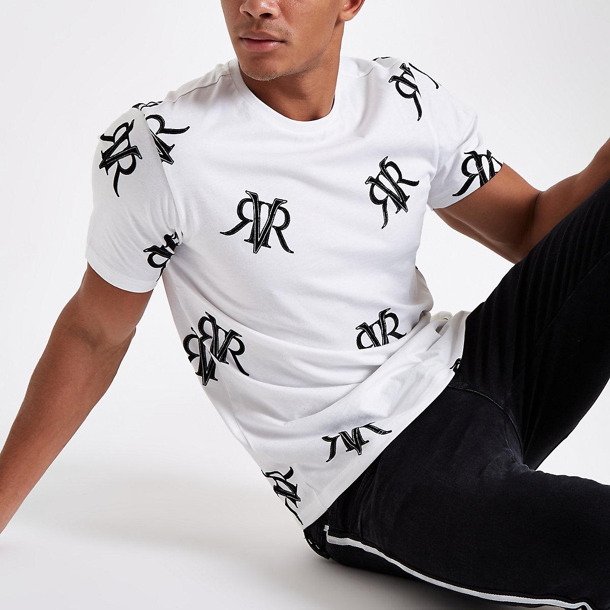 White slim fit logo print T-shirt