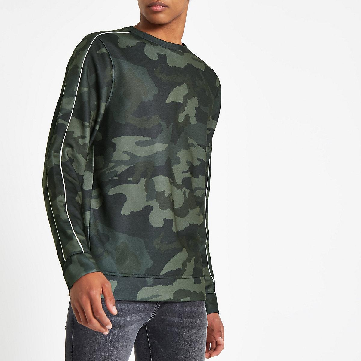 Khaki green camo print slim fit sweatshirt