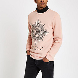 Pink slim fit 'seize the day' sweatshirt