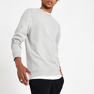Grau meliertes Slim Fit Sweatshirt