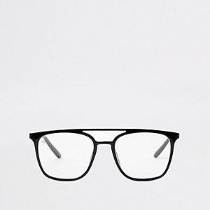 Zwarte pilotenbril met heldere glazen