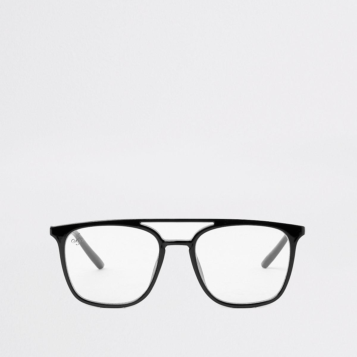 Schwarze Pilotenbrille mit transparenten Gläsern