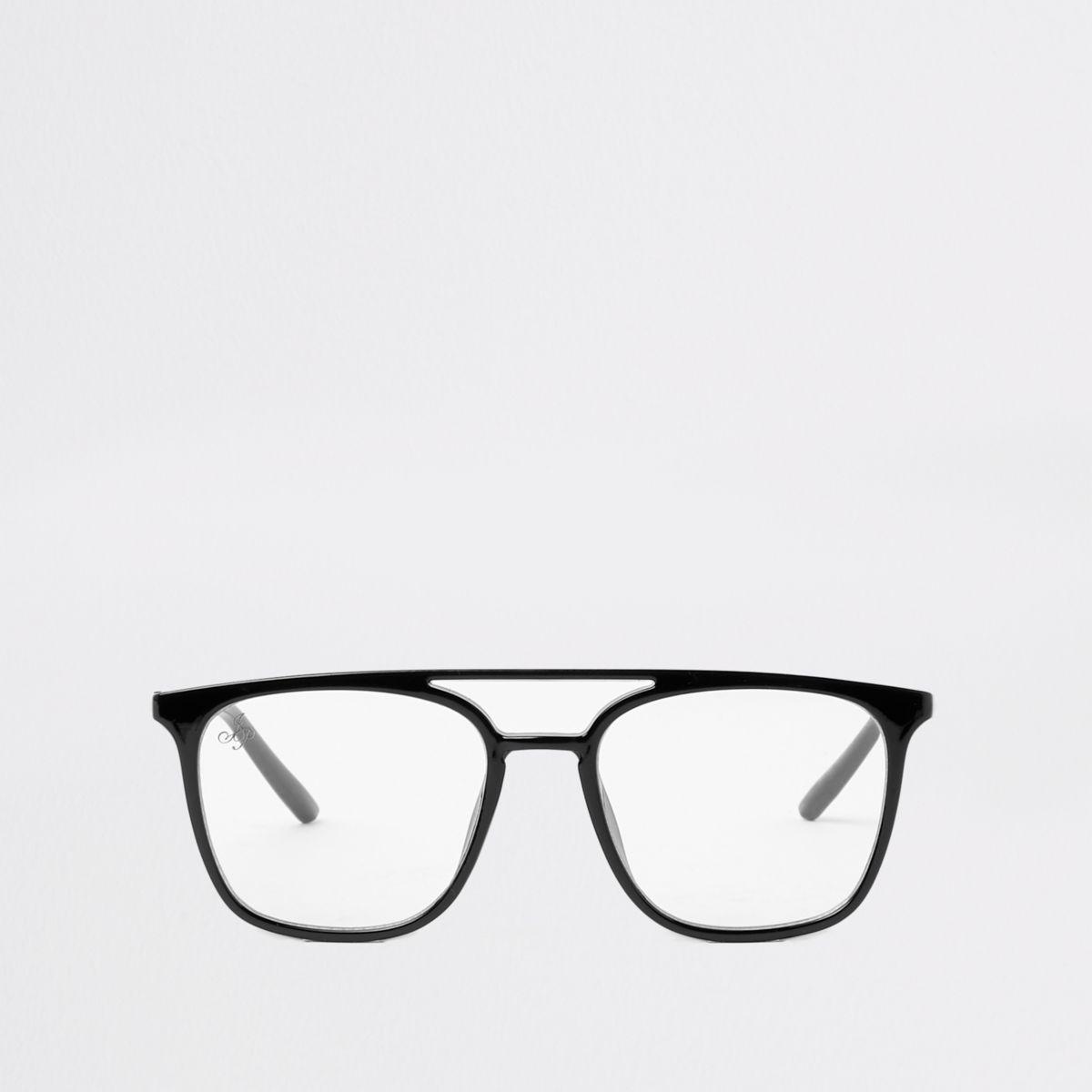 Black clear lens aviator glasses
