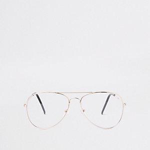 Goudkleurige pilotenbril met heldere glazen