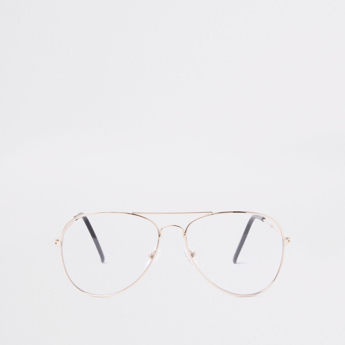 Gold tone clear lens aviator glasses