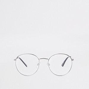 Zilverkleurige ronde zonnebril met heldere glazen