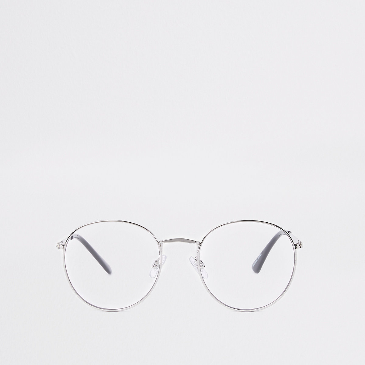 Silver tone round clear lens sunglasses