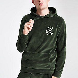 R96 green embroidered velour hoodie