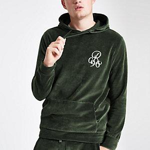 Sweat à capuche en velours vert avec « R96 » brodé