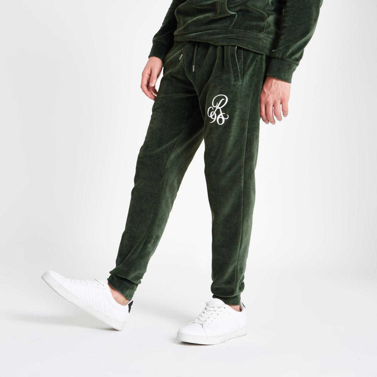 Green 'R96' velour slim fit joggers