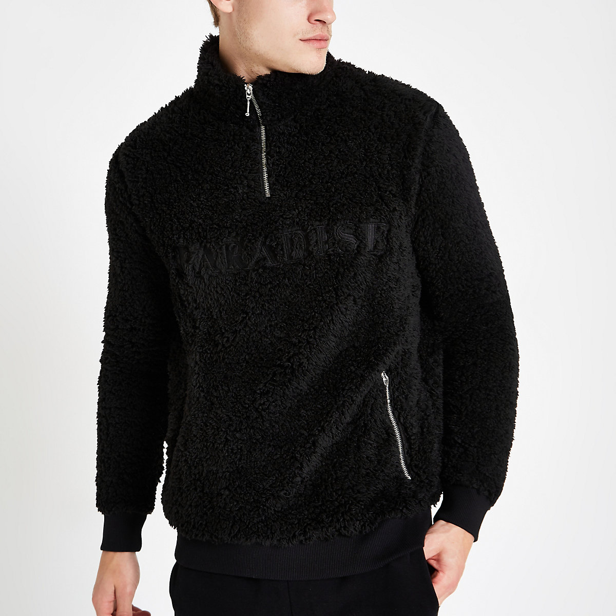 Black fleece zip funnel neck sweater