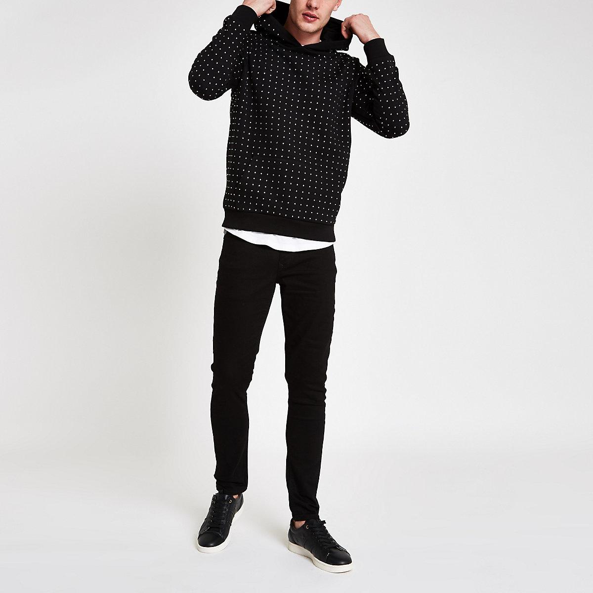 Black slim fit rhinestone embellished hoodie