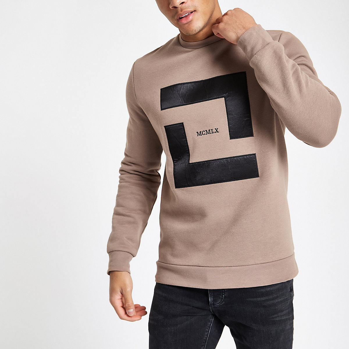 Stone slim fit 'MCMLX' sweatshirt