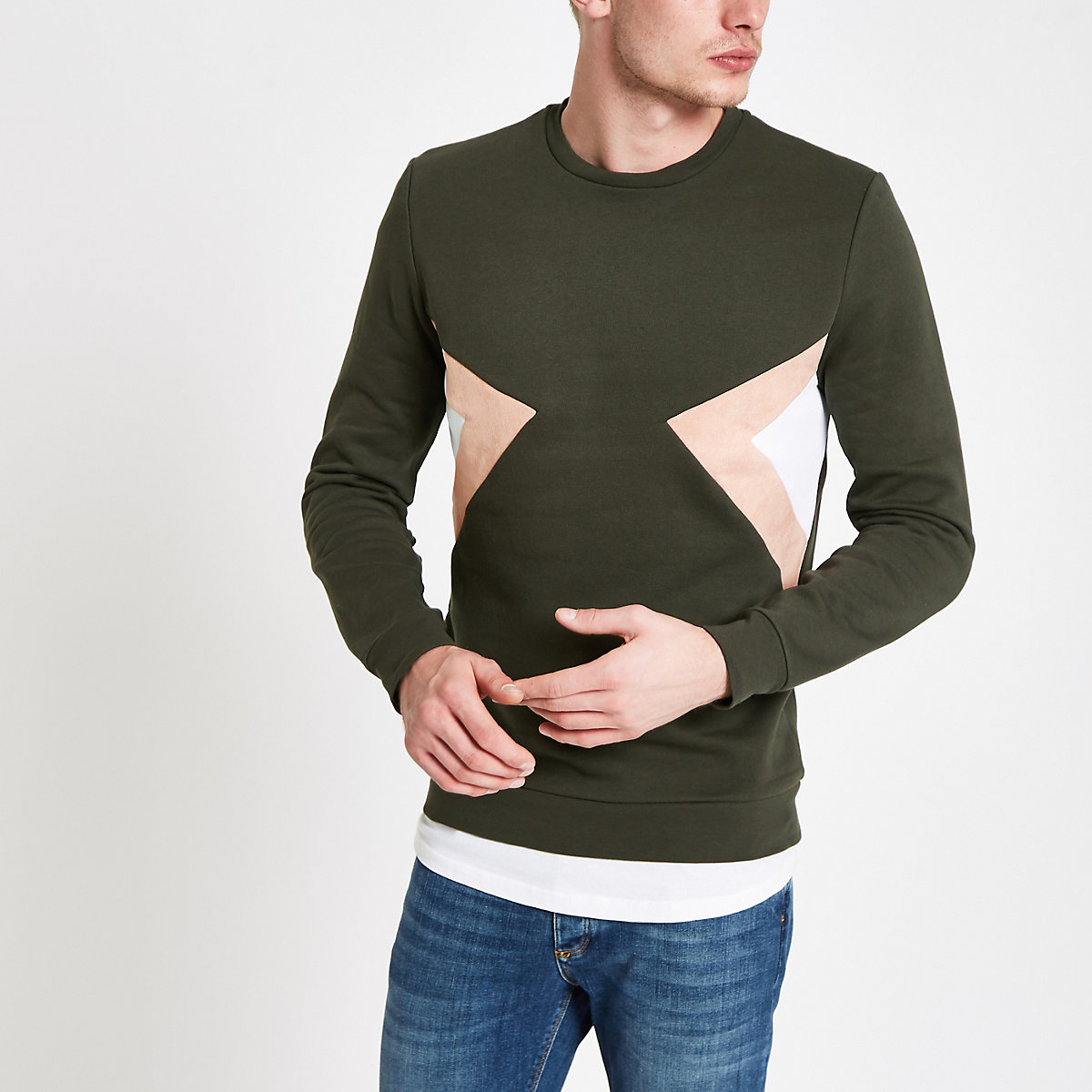 Khaki slim fit colour block sweatshirt