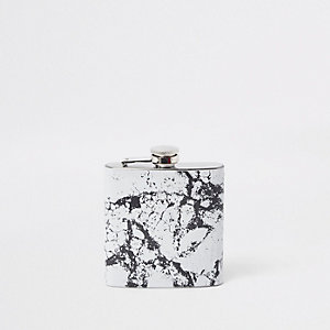 Black marble print hip flask