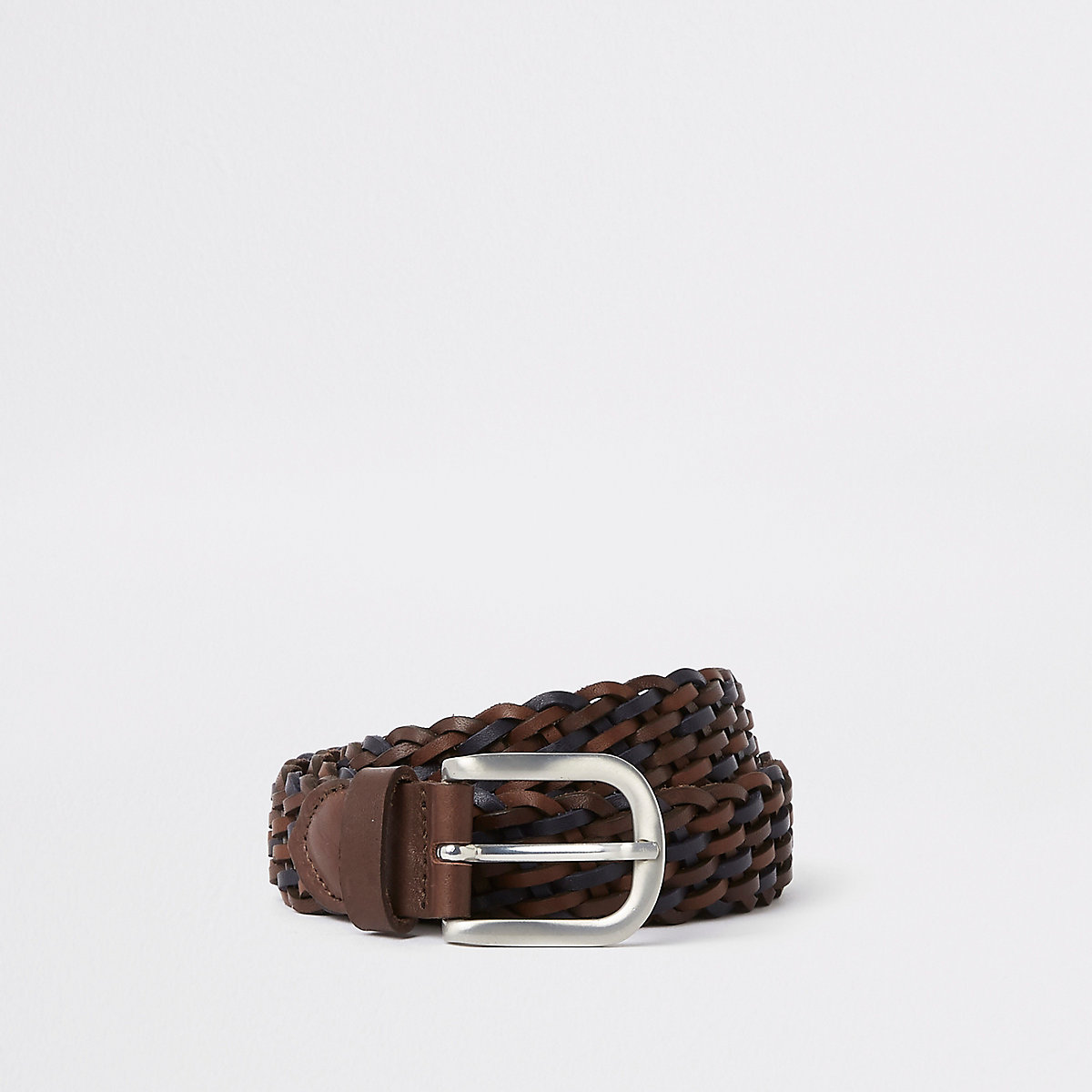 Brown leather silver tone woven buckle belt