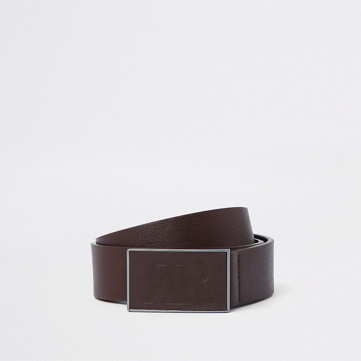 Brown RI textured plate buckle belt