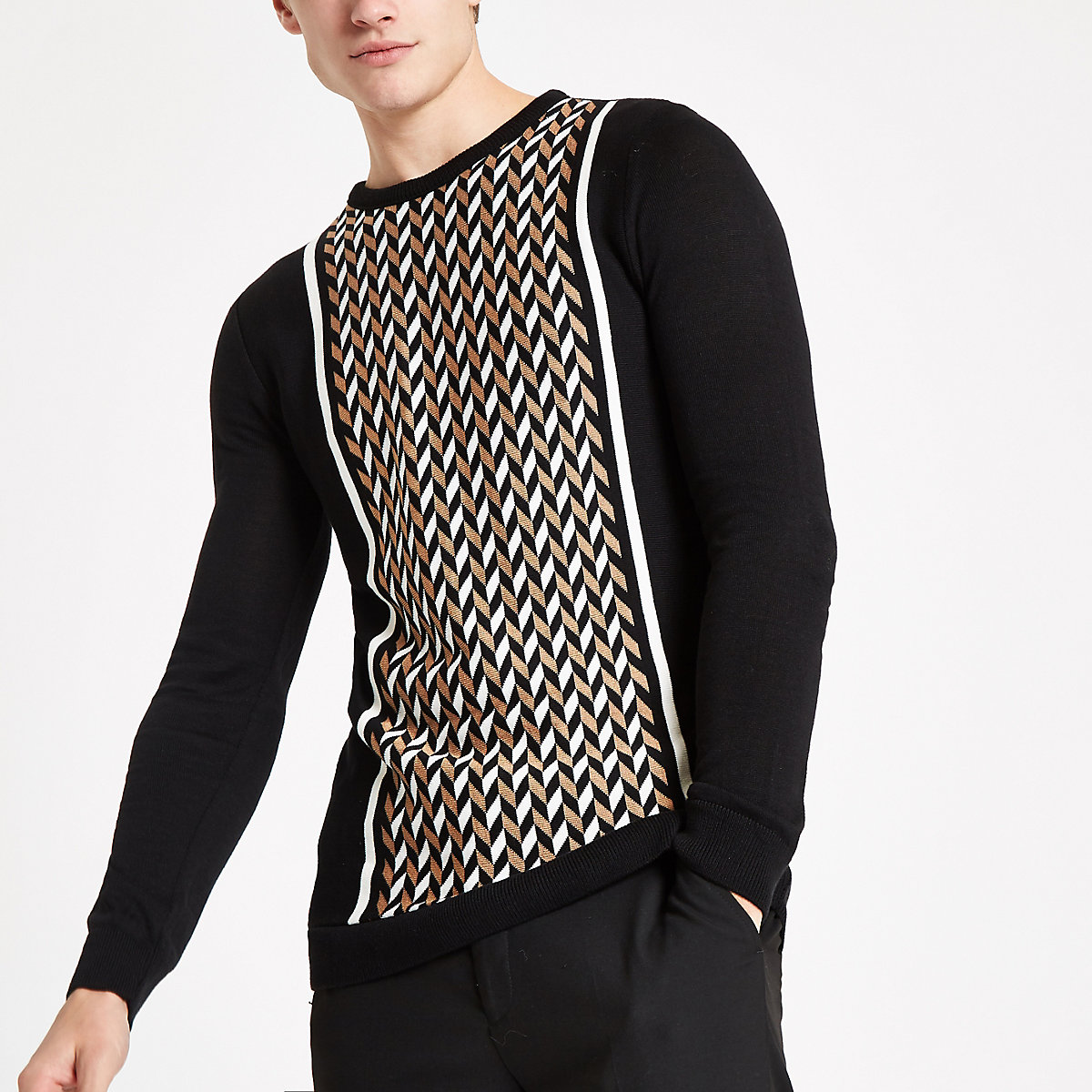 Olly Murs black geo print slim fit sweater