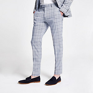 Blue check suit skinny suit trousers