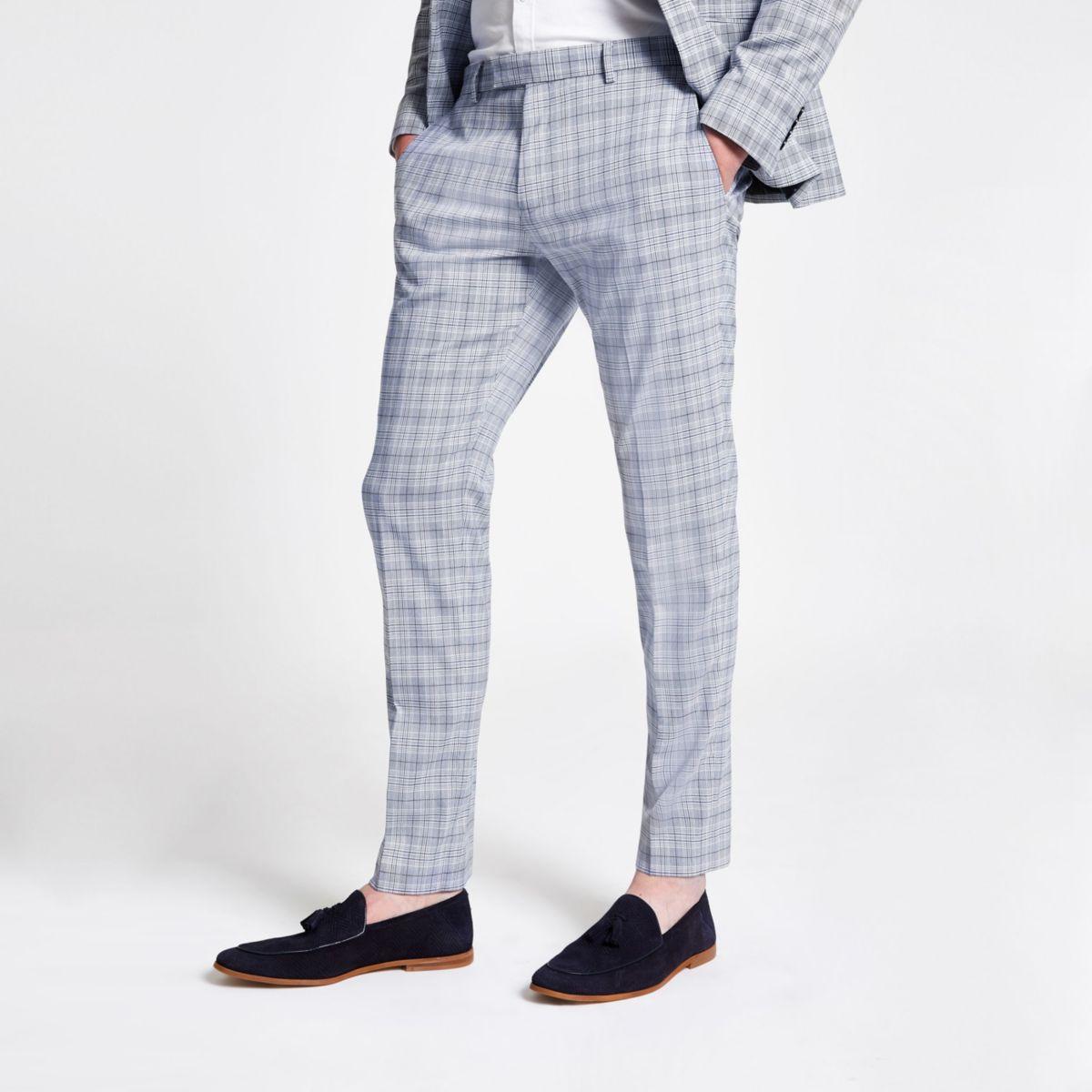 Blue check skinny suit pants