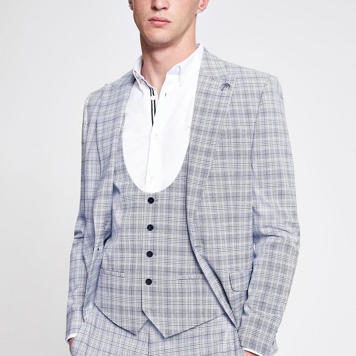 Blue check print suit vest