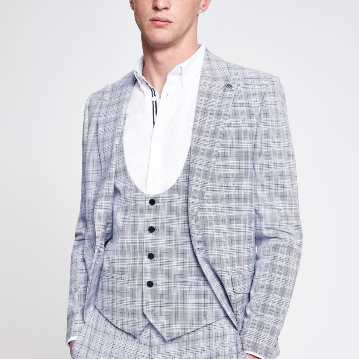 Blue check print suit vest