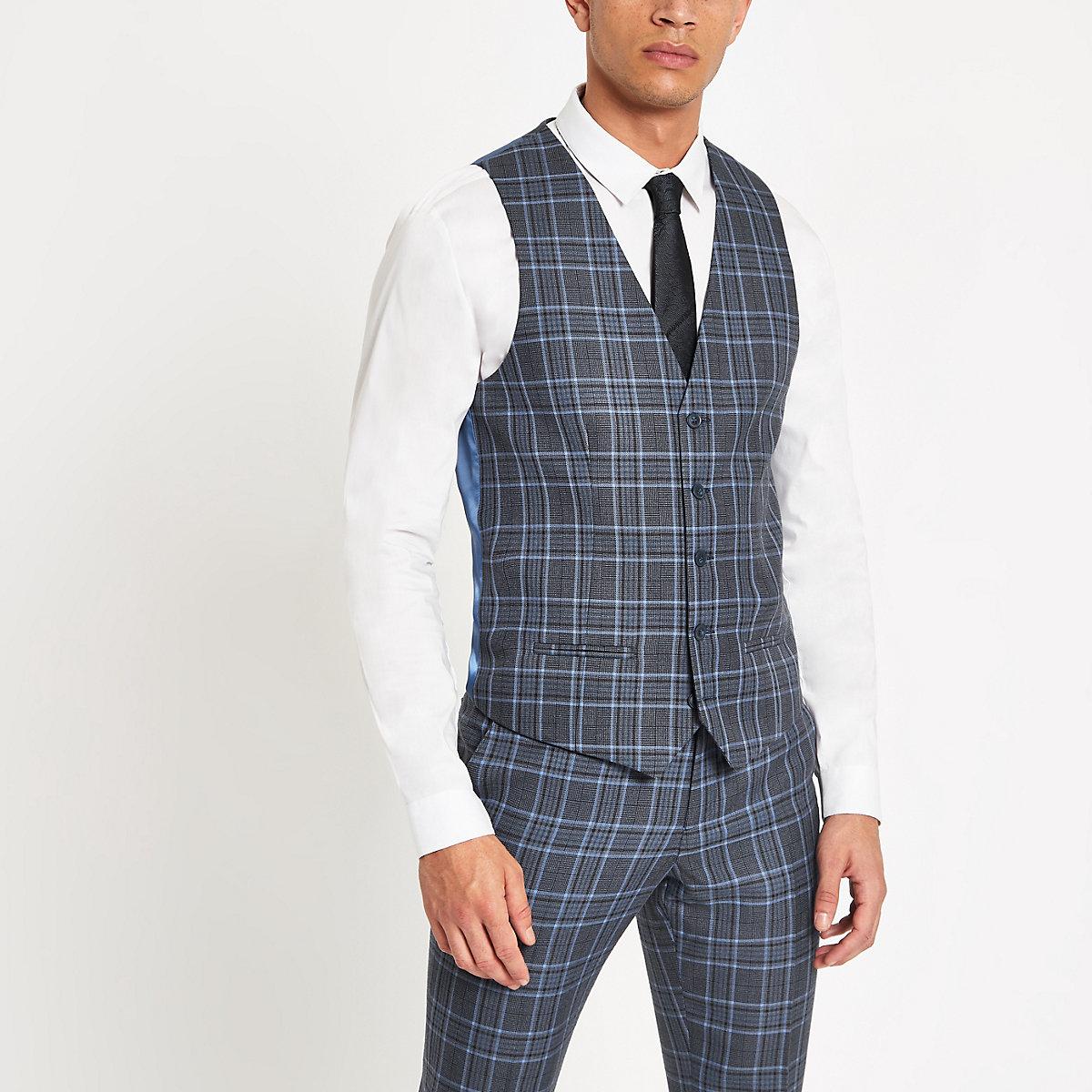Bright blue check suit waistcoat