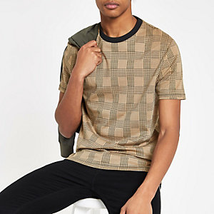 Brown check slim fit T-shirt
