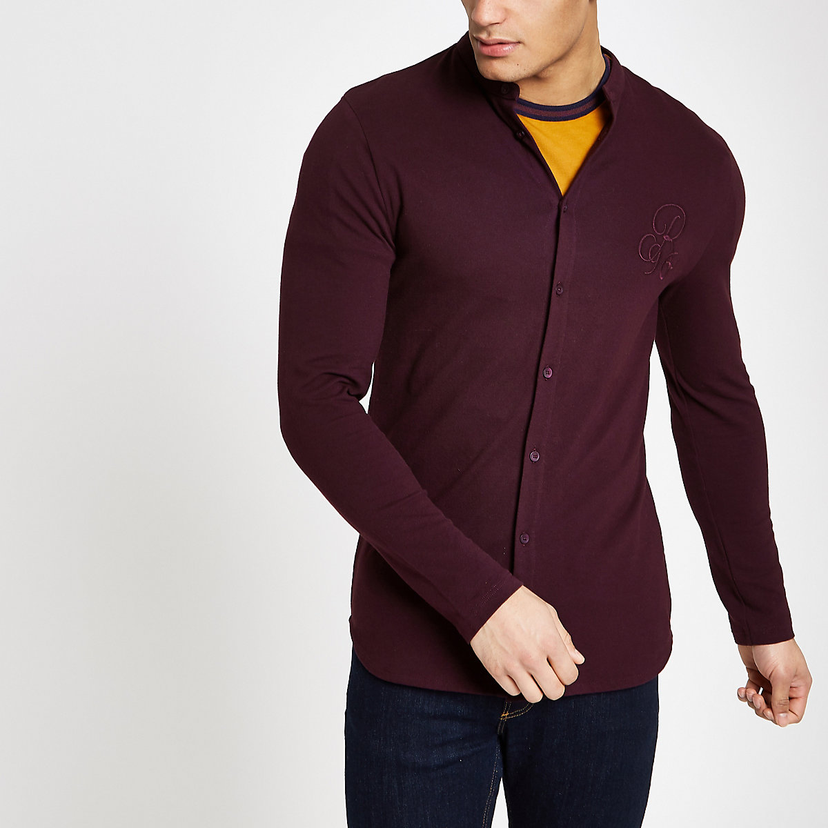 Burgundy 'R96' muscle fit grandad shirt