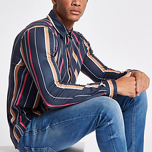 Navy vertical stripe print button-down shirt