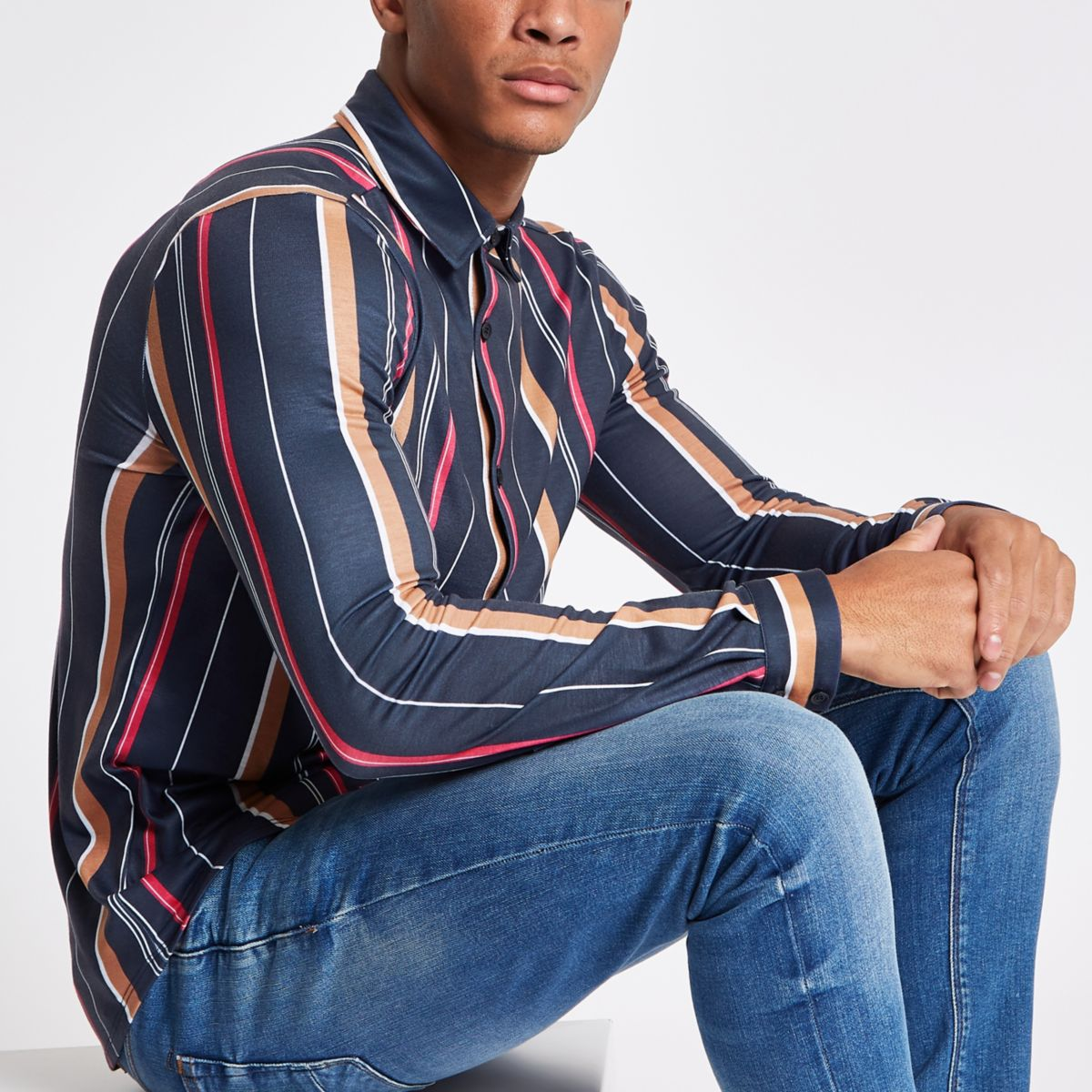 Navy vertical stripe print buttoned up shirt