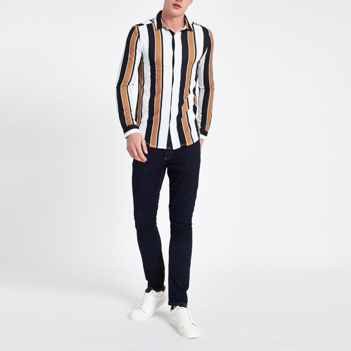 White stripe button-up front shirt