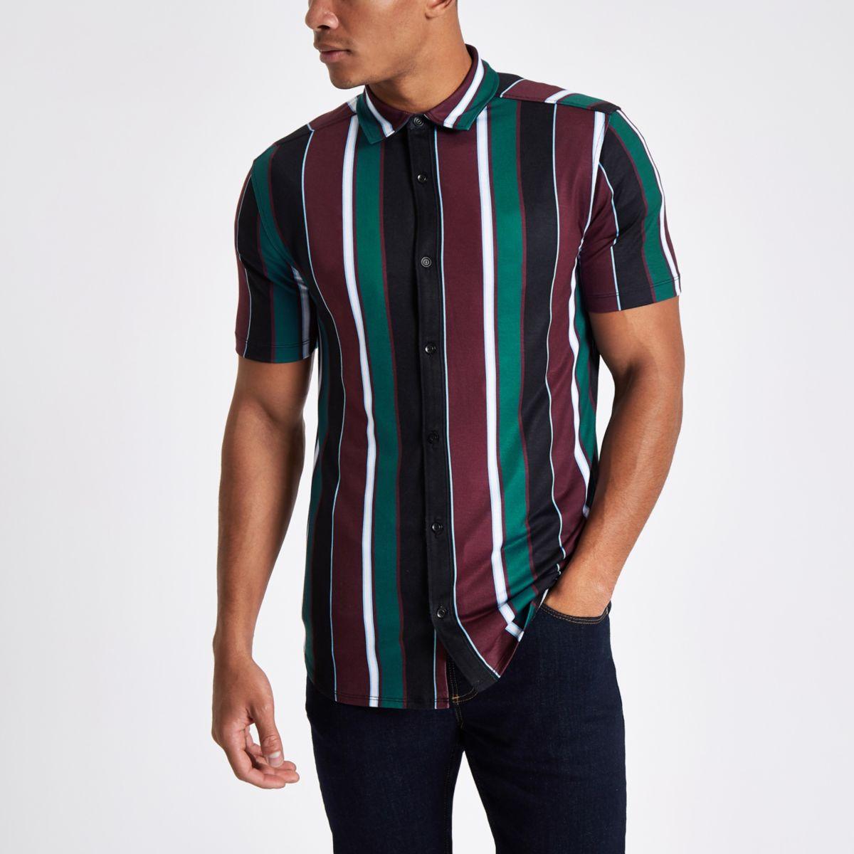Burgundy vertical stripe button-up shirt