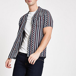 Navy Aztec print short sleeve shirt