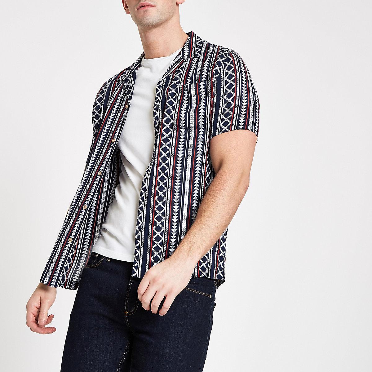 Navy Aztec print short sleeve shirt
