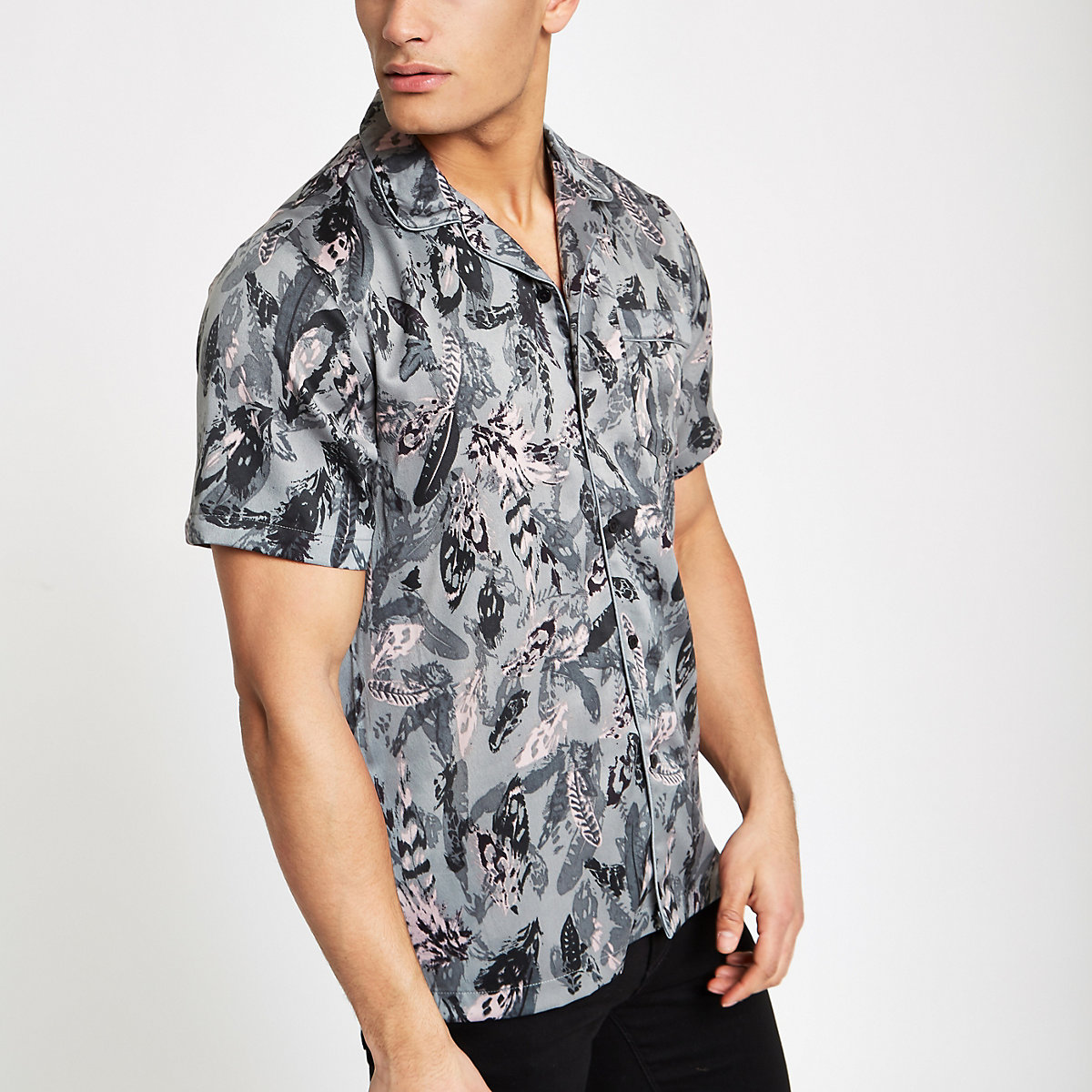 Teal green feather print satin revere shirt