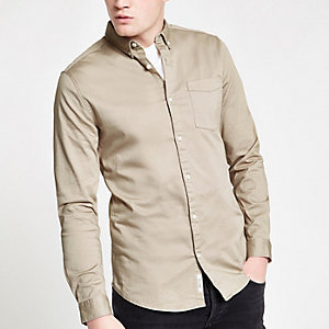 Ecru button-down long sleeve shirt