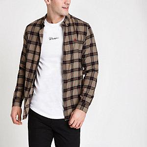 Kiezelkleurig geruit slim-fit overhemd met lange mouwen