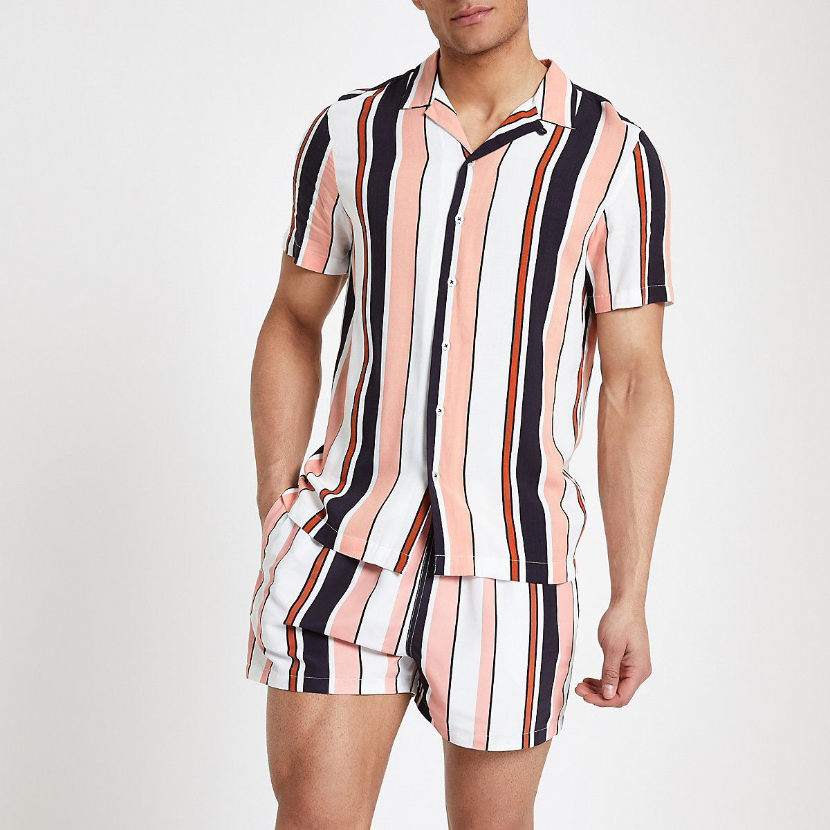 Coral stripe short sleeve revere shirt