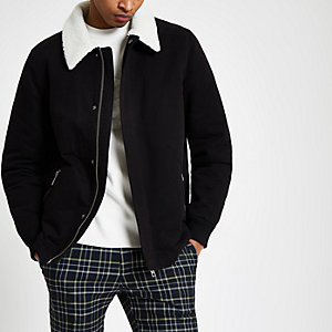 Black fleece collar jacket
