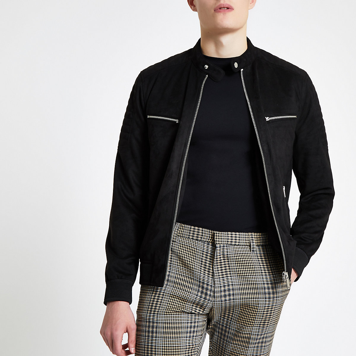 Black faux suede racer neck jacket
