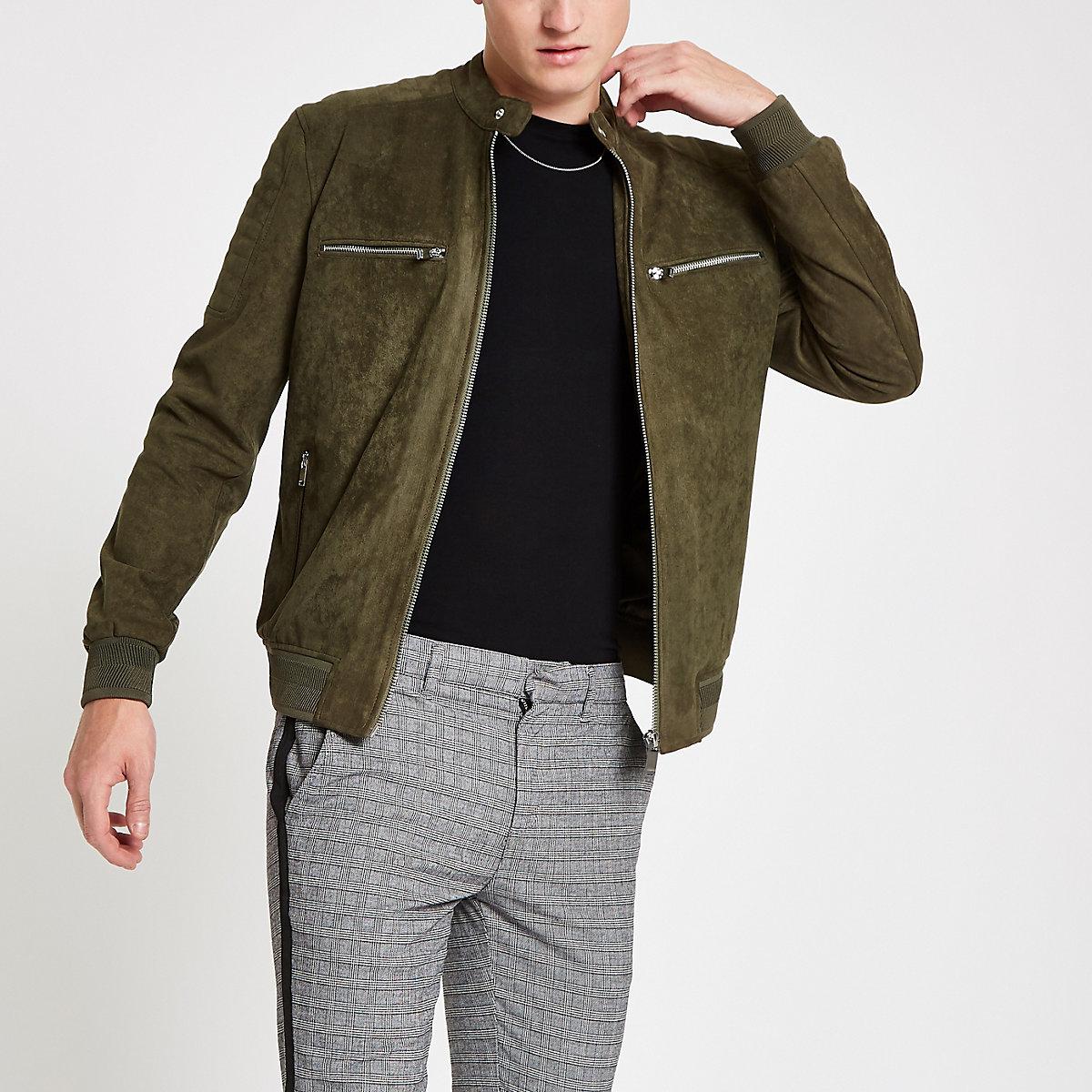 Khaki faux suede racer neck jacket